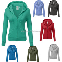 Women's XXXXL Solid Plain Knit Stretch Cotton Basic Long Sleeve Zip Up Front Pockets Sweatshirt Jackets Custom Hoodies
