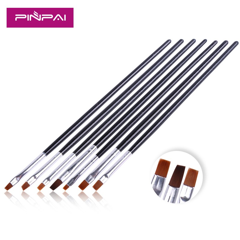 professional 7pcs a set gel polish nylon hair gel nail art brush wooden handle