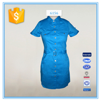 New Design Pictures Office Straight Blue Dress For Ladies 2016