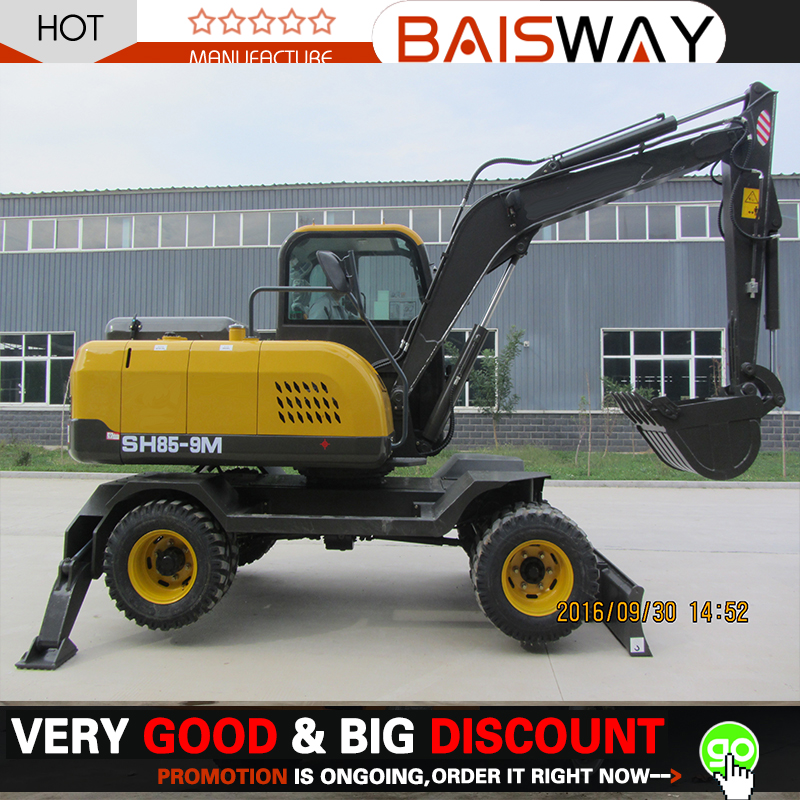 Small earth moving machine Digging Wheel Excavator SH85-9M for your choice