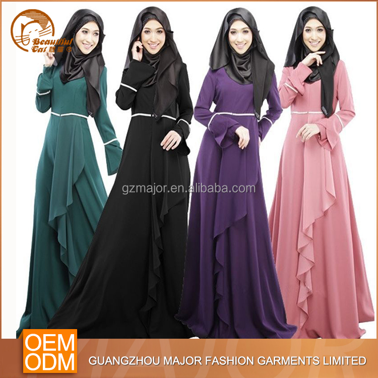 2016 wholesale Latest new fashion designs islamic clothing dubai abaya