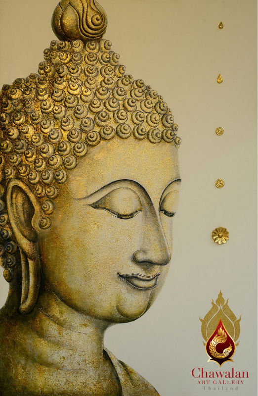Thai Buddha hand painted oil painting on canvas with gold leaf