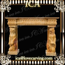 Yellow marble animal victorian fireplace
