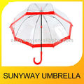 Bubble Shape Umbrella Clear Plastic With Red Edging