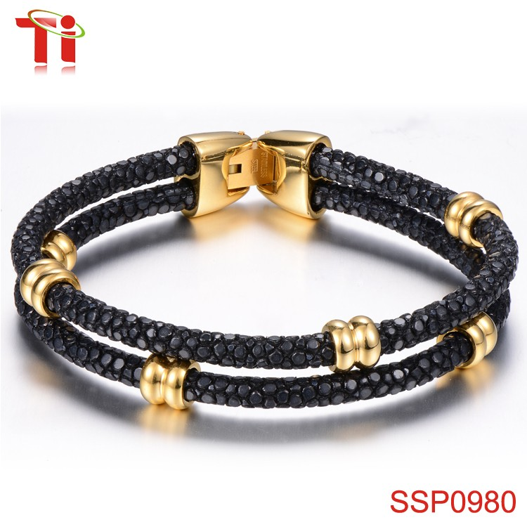 Dongguan Aohua Jewelry SSP0980 4mm black stingray leather women love fitness bracelet with gold accessory miss jewelry