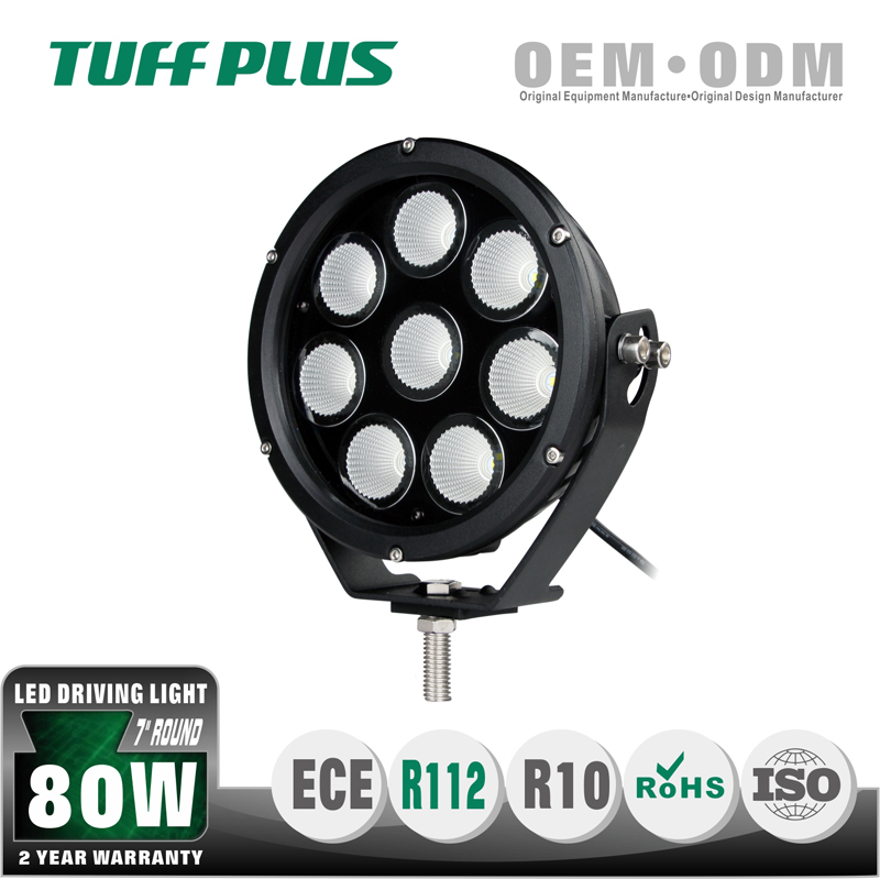 7inch round 8 pcs 10w leds spotlight driving light for off-road suv