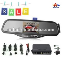 ALD100C-bluetooth mirror with 3.5' TFT monitor and wireless rearview camera and wireless electromagnetic parking sensor