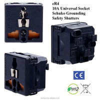 10 Amp Universal Wall Socket with Schuko Ground and Safety Shutters/universal socket /schuko sockets ,all kinds of frame