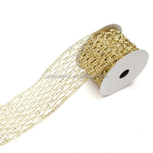 2015 Christmas Gold And Silver Stretch Mesh Ribbon