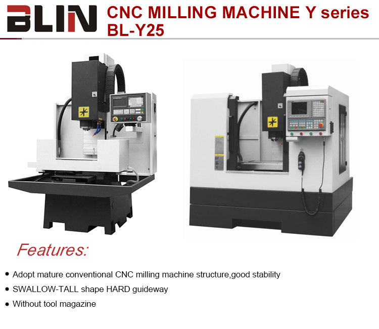 Hot sale 3 axis Mini CNC vertical small cnc conventional milling machine with 4 axis for metal(BL-Y25)