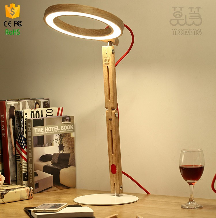 handmade wood desk lamps office lamp simple and modern Modeng table lamps 48led unique design
