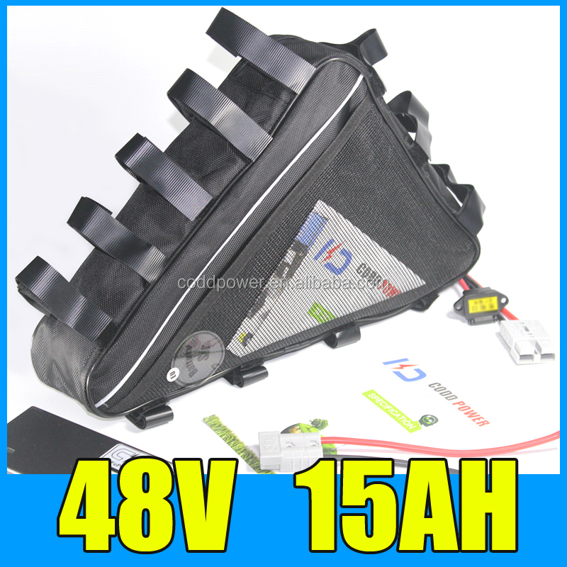 13S 18650 48V 15AH Li Ion Ebike Battery Pack Triangle Bag For 48V 1000W Electric Bicycle