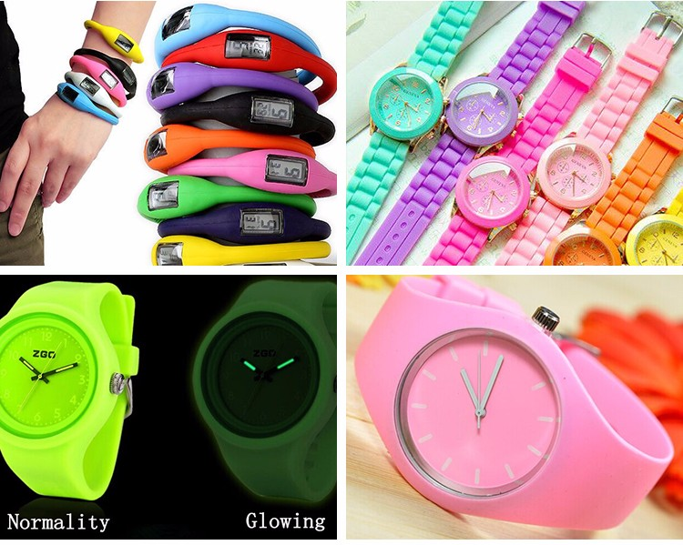 Eco-friendly Material Fashion Adjustable Waterproof Silicone Wrist Watch