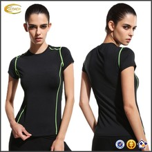 Ecoach Wholesale OEM Women Color Block O Neck Short Sleeve Shirts Running Yoga Dance Workout Fitness Sports Blank T-Shirt