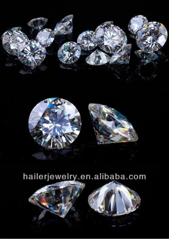 Synthetic White Round Star Cut Cubic Zirconia Gemstones