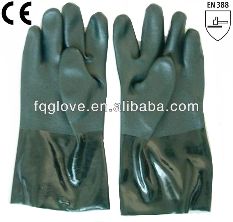 FQGLOVE green cotton liner industry pvc gloves