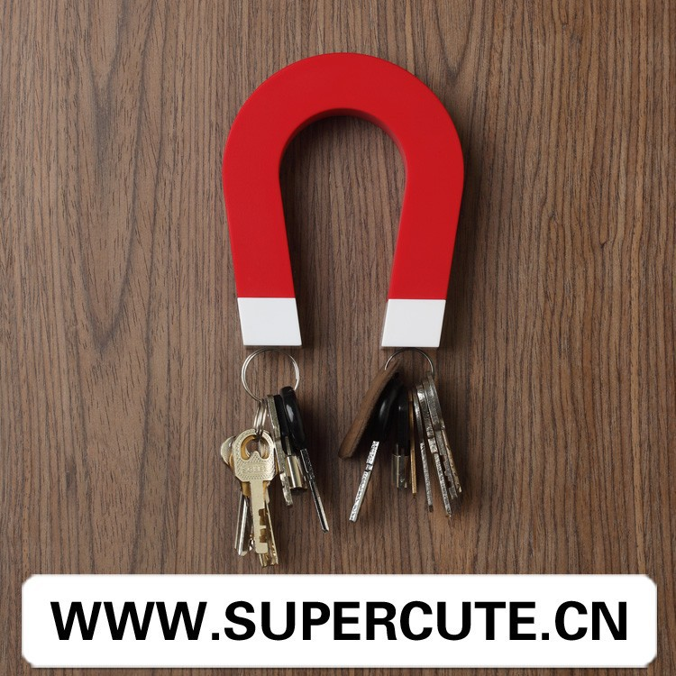 Best selling Creative design ABS & Magnet <strong>u</strong>-shape red color wall key holder