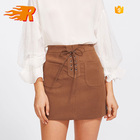 OEM Custom Fashion Lady Dual Pocket Grommet Lace Up Suede Mini Skirt