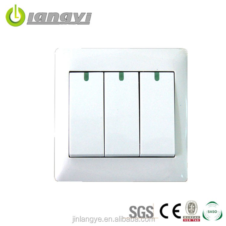 Factory Sale Brand 3 Gang 1 Way Wall Mounted Electric Switches