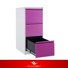 Cheap fireproof 3 drawer metal purple file cabinet