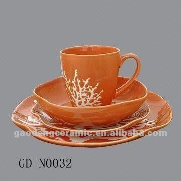orange handpainting ceramic dinnerware set