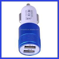 High quality aluminum 12v-24v dual usb car charger for mobile phone universal car charger adapter