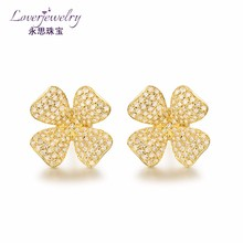 2016 latest gold saudi gold natural gems pave diamond earrings designs jewelry 18k yellow earring production for girls