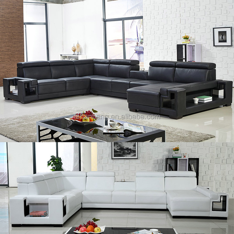 Living Room Furniture Guangzhou Black and White Leather Sectional Sofa Set