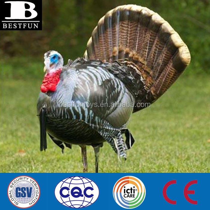 customized plastic inflatable turkey decoys big fake turkey target toys hunting decoy for outdoor sports