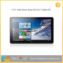 New 11.6 inch 2 in 1 Intel Quad Core Tablet PC Dual Boot Win8.1 Android4.4 Easy Touch Tablet