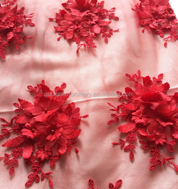 2016 wholesale The Newest 3D lace fabric /nice wedding dress accessories red 3D flower embroidery fabric