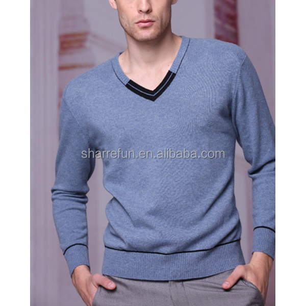 100% cashmere blue colour sweater for mens