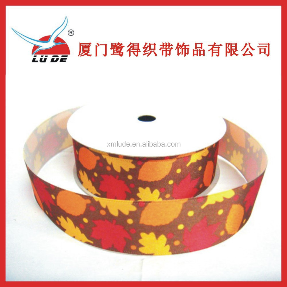 2015 maple leaf print polyester satin ribbon