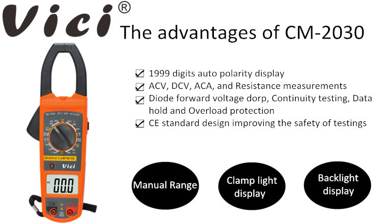 CM-2030 large LCD display digital clamp meter, 3 1/2 clamp on meter