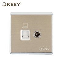 KEEY Brushed Silver 1 Gang TV socket with 1 Gang LAN Electric Socket Switch QY-A480