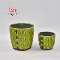 Green Glazed Ceramic Flower Pots For