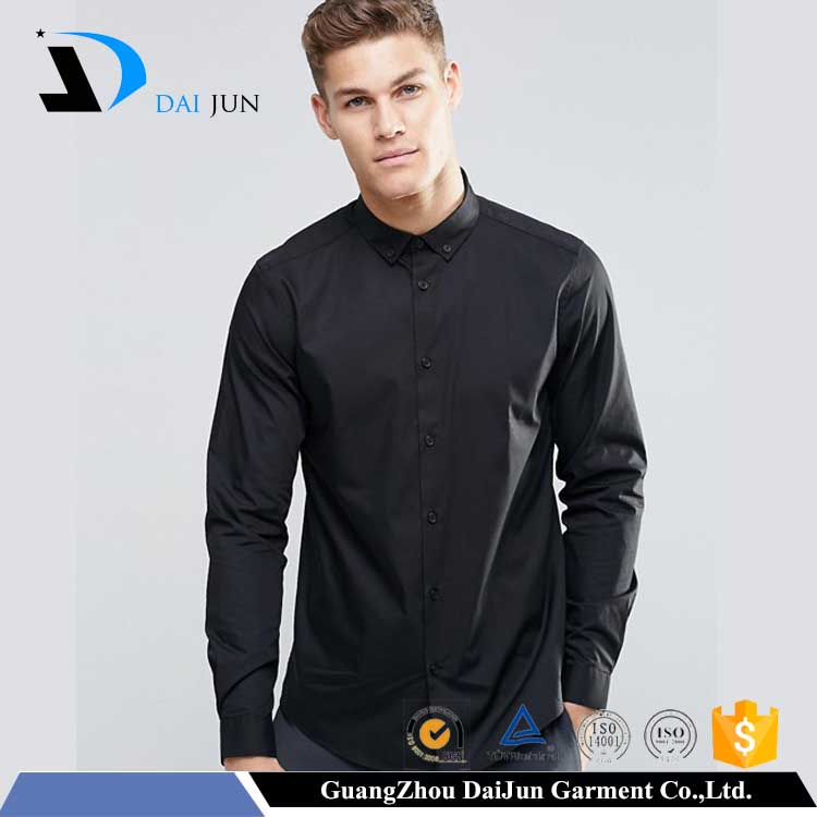 2017 New blank Formal Wear 100% Cotton turndown long sleeve black latest formal shirt designs for men