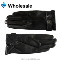 Basic mens sheep skin leather gloves driving gloves moto gloves with metal button