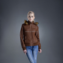High Quality jacket with cap PU leather women cool beautiful jacket
