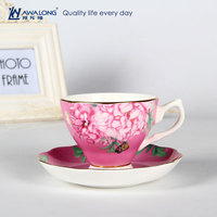2016 Flower Design Romantic Gold Fine Bone China Bulk Tea Cup and Saucer Sets Shipping From China