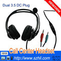 call center double ear Micphone dual telephone headset with 3.5MM RJ11 Plug.