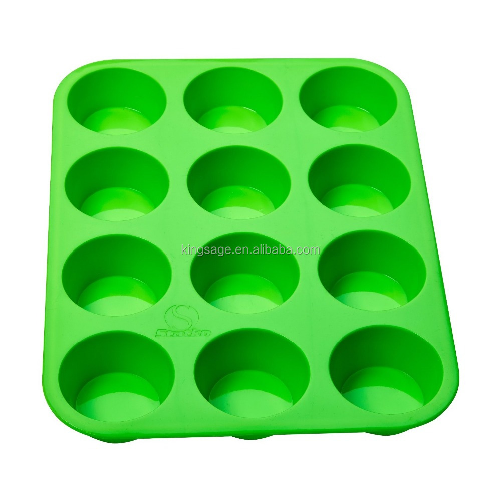 Silicone Nonstick 12 Cups Muffin Pan/ Cup cake tray/ Cake Baking Mold BPA Free- Easy Clean Dishwasher and Microwave Safe
