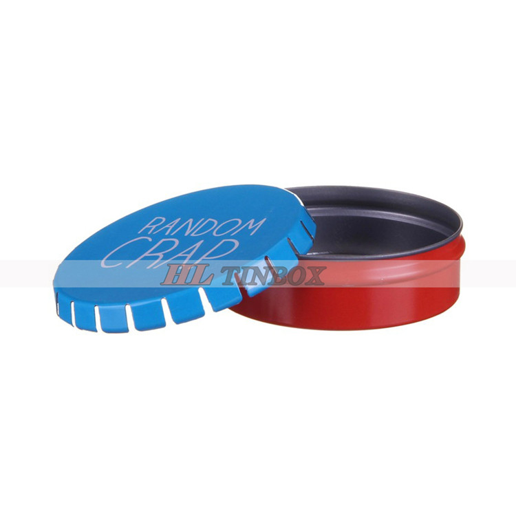 Mini Round Metal Ashtray Click Clack Tin Box