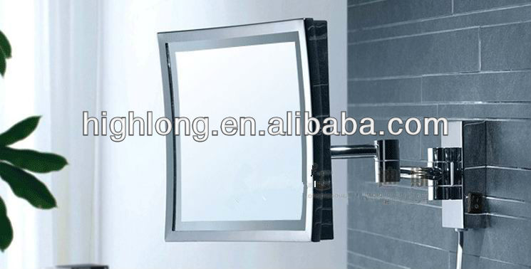 hotel bathroom folding wall-mounted magnifying mirror with light