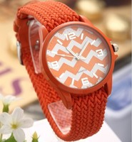 2015 New Colorful Ribbon Strap Ripple Round Dial Women Casual Wristwatch Fashion Lady Quartz Watches Gifts relogio masculin