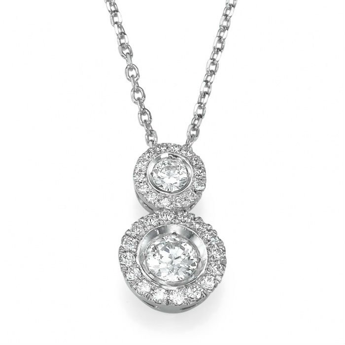 Fine elegant bridal pendant, 14K White Gold and natural round cut Diamonds, 0.5 carats