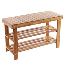 Natural eco-friendly Bamboo Shoe Bench 2-Tier high quantity floding Shoe Storage Racks