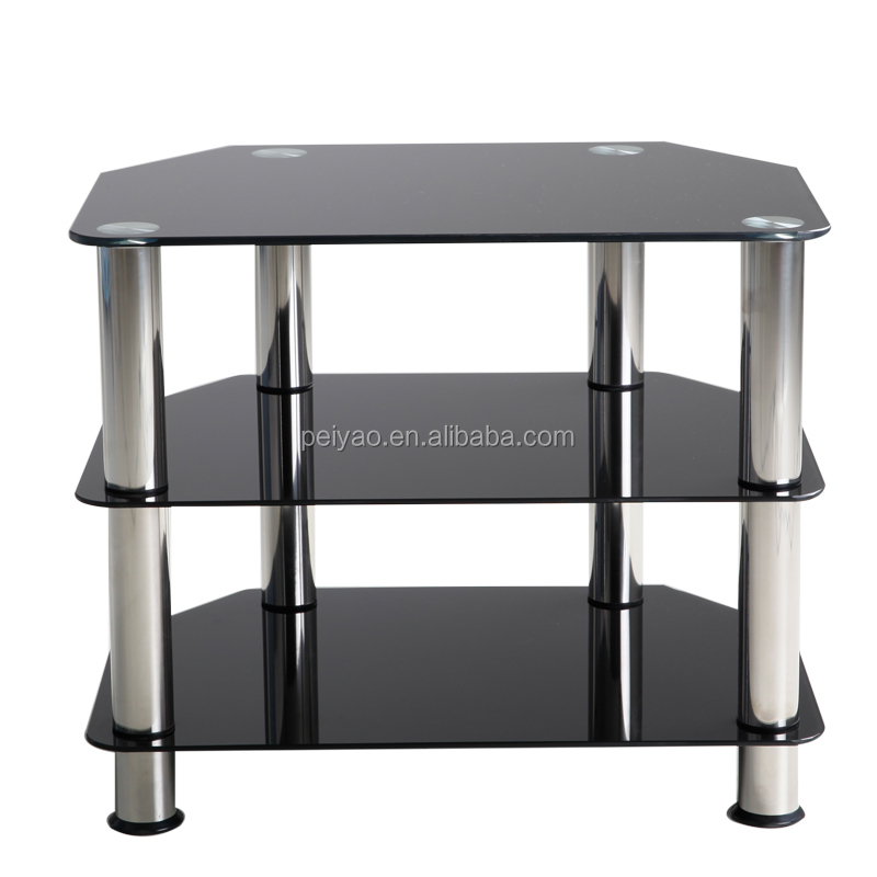 Cheap small 3 tier black glass tv unit corner tv stands