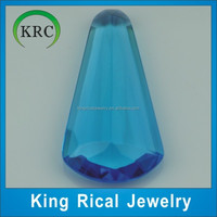 Drop Cut Blue Glass Stones Loose Gemstone High Quality Glass Jewelry Synthetic Gemstone