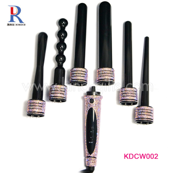 Exquisite Colorful Rhinestone 3 In 1 Hair Curler Set Interchangeable Curling Iron